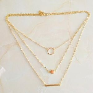 Jewelry - Gold Chain 3 Layered Bar Necklace